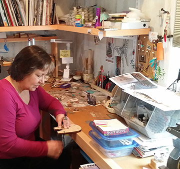 Artist Catherine Witherell in her studio.