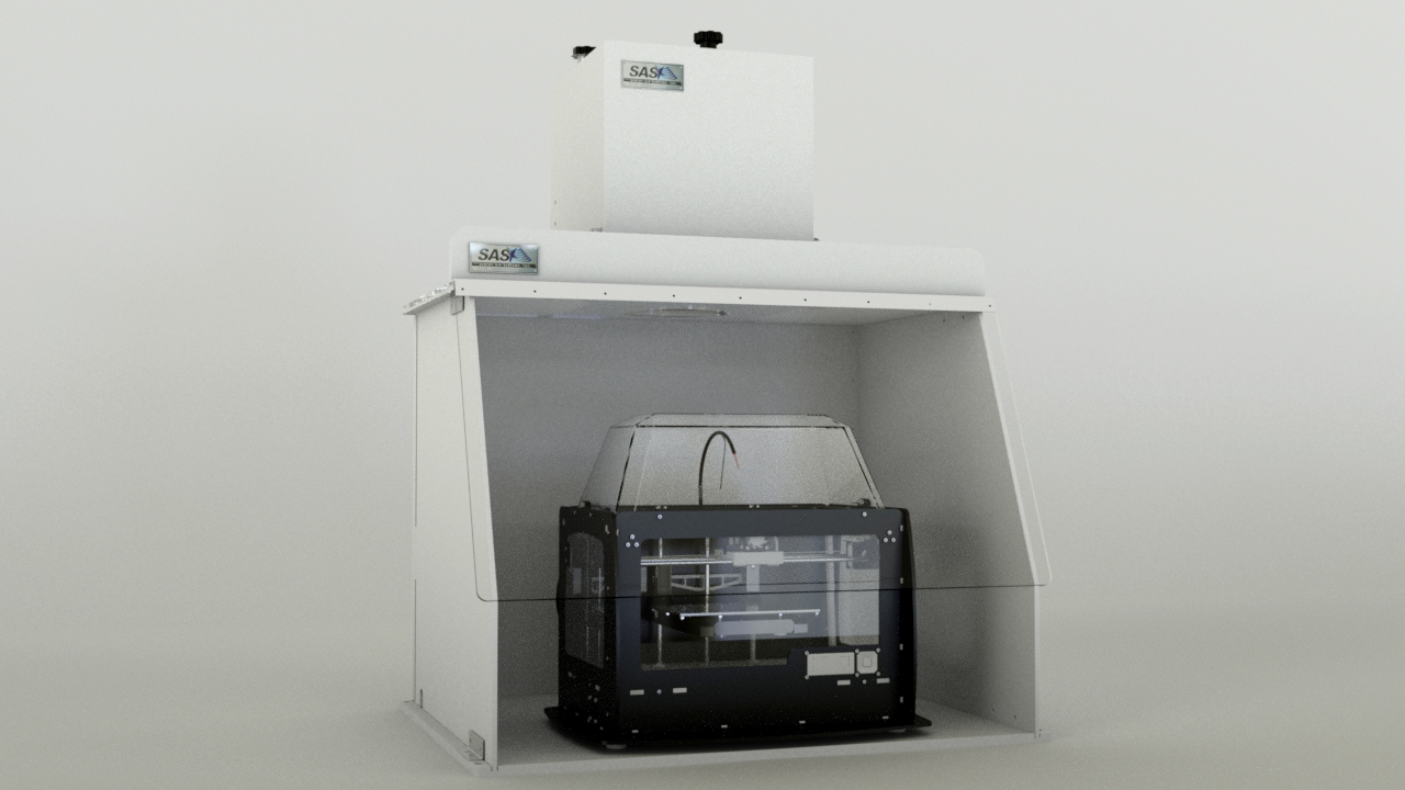 A conceptual drawing of one of our standard ductless containment hoods with a MakerBot Replicator 2X 3D printer inside.
